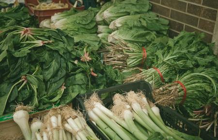 green vegetables in market, food background