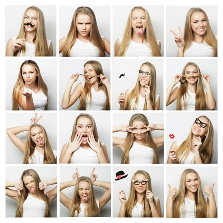 Photo for people, portrait and beauty concept - collage of woman different facial expressions - Royalty Free Image
