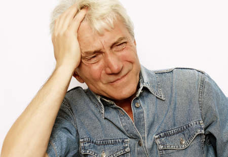 Photo pour lifestyle, health and people concept: Senior man has headache, on white background - image libre de droit