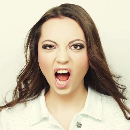 Photo for Beautiful young surprised woman. - Royalty Free Image