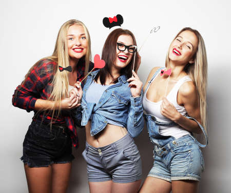 Photo for Stylish sexy hipster girls best friends ready for party. - Royalty Free Image
