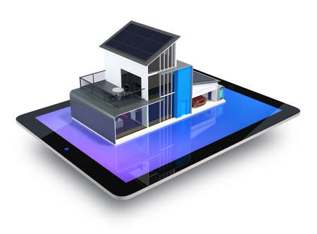 Energy efficient apartment with solar panels system on tablet screen  Clipping path available