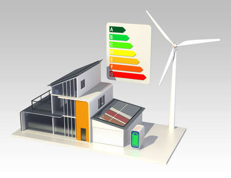 Smart house with energy classification chart