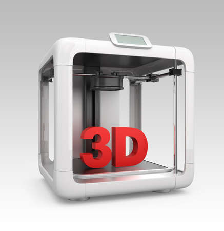 Front view of compact personal 3D printer on gradient background