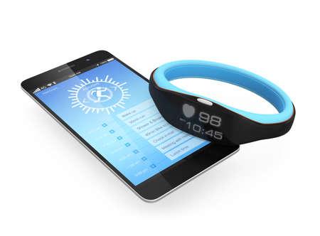 Photo pour Smart wristband synchronized with a smartphone - image libre de droit