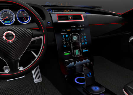 Electric car multimedia interface simple design touch panel.
