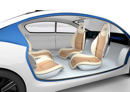 Autonomous car's interior concept. The car offer folding steering wheel, rotatable passenger seat. Original design. Clipping path available.