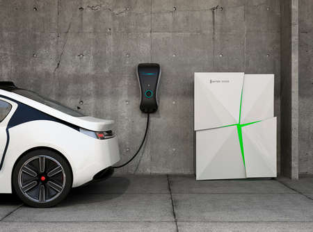 Photo pour Electric vehicle charging station for home. Powered by battery system. - image libre de droit