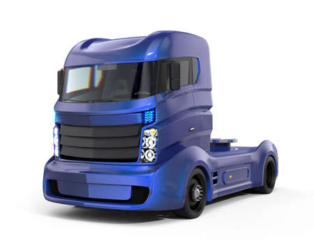 Foto de Metallic blue hybrid electric truck isolated on white background. Clipping path available. - Imagen libre de derechos