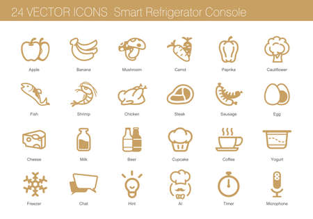 Icon set of food, drink and smart refrigerator