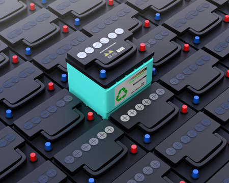 Photo pour Ecology car battery pop up from other normal battery. Long-life maintenance free battery concept. 3D rendering image. - image libre de droit