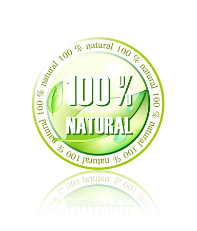 100% natural icon made in illustrator cs4