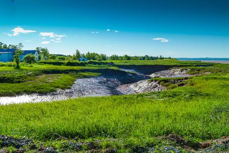 dry streambed awaiting Tidal Bore, Novia Scotia, Canada