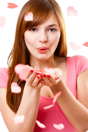 beautiful woman blowing up kiss with hearts