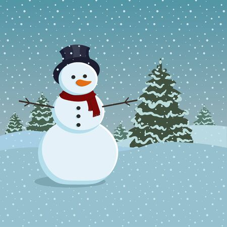 Snowman and trees covered in snow