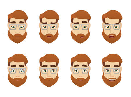 Illustration for Young man face expression set - Royalty Free Image