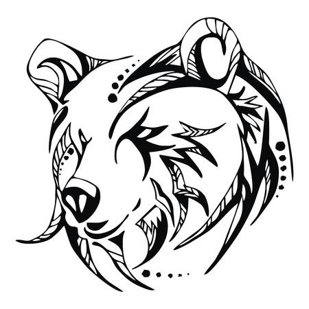 Illustration pour Bear head tattoo vector - image libre de droit