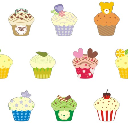 Fancy cup cake pattern wallpaper