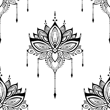 Illustration pour illustration mehendi Lotus flower henna ornamental ethnic zen tangle  motif tattoo seamless pattern vector black and white for printing - image libre de droit