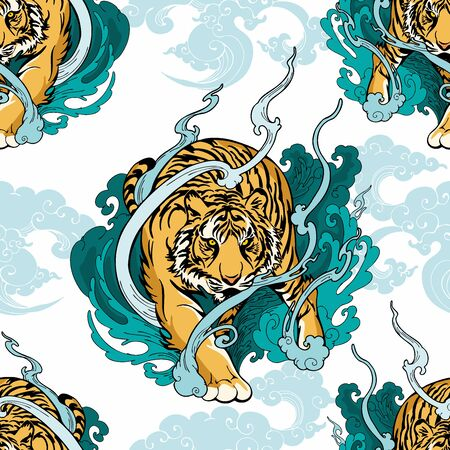 Illustration pour Illustration doodle and paint Tiger walking  on cloud or haven Illustration doodle and paint design for seamless pattern with white background - image libre de droit
