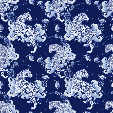 Illustration pour illustration white tiger design in tattoo  blue Porcelain seamless pattern elements vector with deep blue Porcelain background - image libre de droit