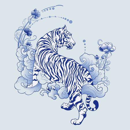 Illustration for illustration white tiger design in tattoo  blue Porcelain for print elements vector with light blue ceramic color background - Royalty Free Image