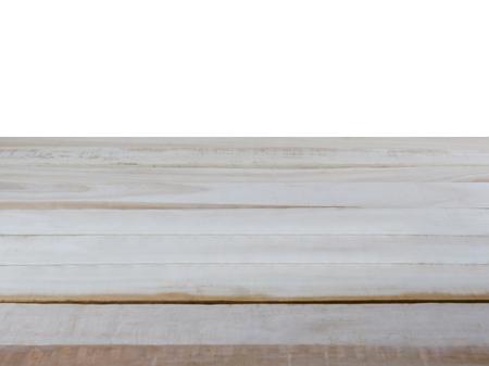 Photo pour Empty wooden table top, isolate on a white background - image libre de droit