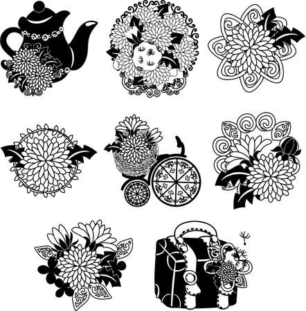 Illustration pour The cute icons of dandelion such as pot and bouquet and bicycle and bag - image libre de droit