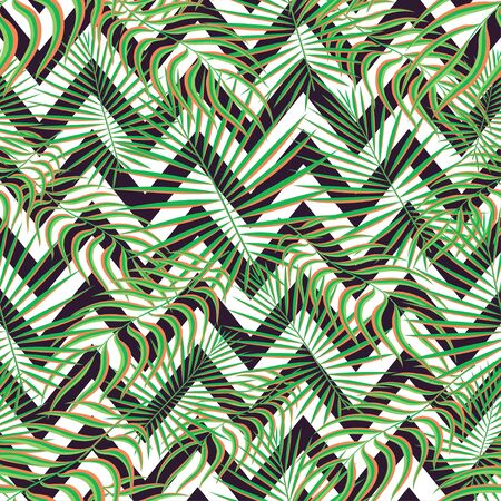 Illustration pour Tropics seamless pattern background. Modern exotic tropical leaves,backdrop pattern with seamless zigzag lines. Summer colorful trendy natural print for decoration fabric, fashion textile. Vector art - image libre de droit