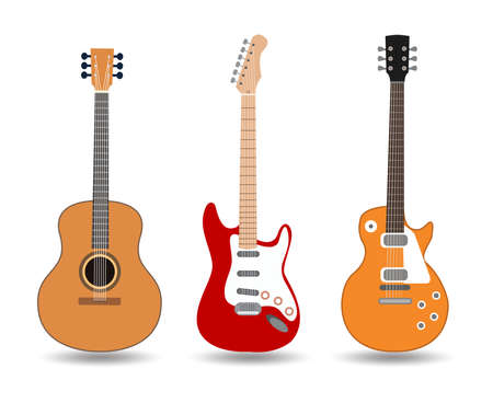 Illustration for acoustic guitar icon, Used to play music and notes, for sing a song, vector design. - Royalty Free Image