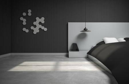 monotone bedroom design with 3d wall. 3d rendering
