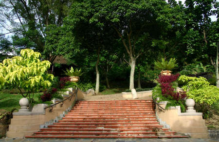 Stairway leading up a hill at a park and garden in Kuala Lumpur