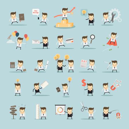 Illustration pour set of businessman activities vector - image libre de droit