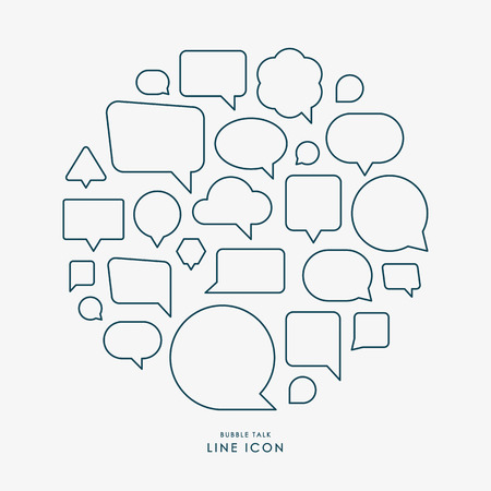 Illustration for bubble talk minimal line icons infographic vector - Royalty Free Image