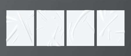 Illustration pour White paper glued realistic mockups set. Wrinkled, crumpled vertical posters. Copy space. - image libre de droit