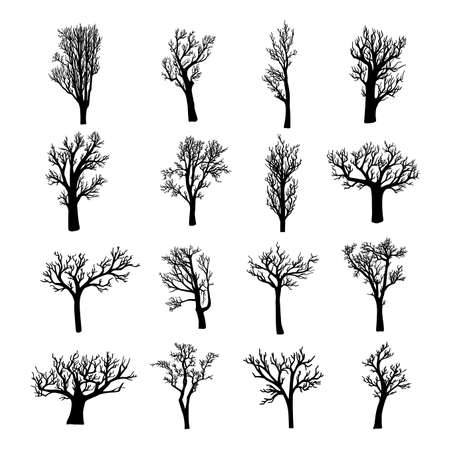 Illustration pour Black silhouettes of dead, dried, or leafless trees and saplings - image libre de droit