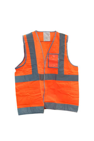 Photo pour Fluorescent orange vest with reflective strips, Vest is made of polyester fabric. Expected with a silver reflective strip. To increase security Suitable for use in the night, isolated on white background - image libre de droit