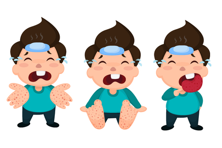 Illustration pour Hand foot and mouth disease (HFMD) children infected. Vector Illustration on white background. - image libre de droit
