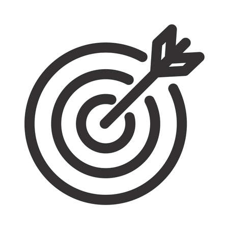 Illustration pour Target icon An arrow that is placed in the middle of the target. Business goal concept. - image libre de droit