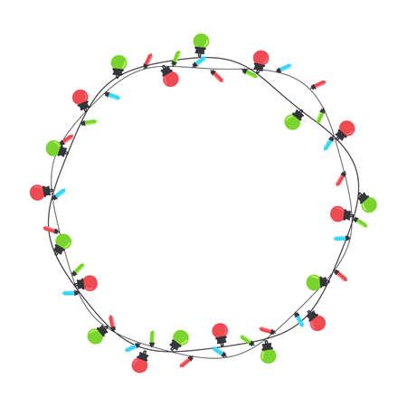 Illustration for Christmas light bulbs. Colorful light bulbs for Christmas decoration. Isolated on white background. - Royalty Free Image