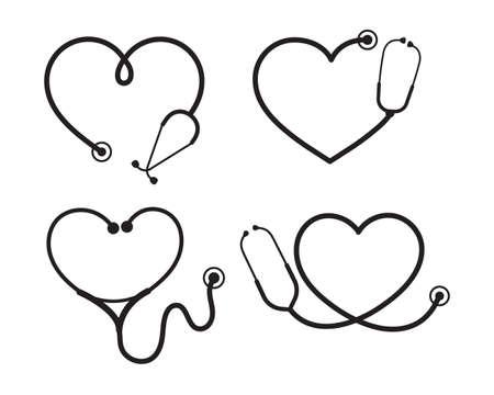 Ilustración de Vector nurse stethoscope silhouette Heart shaped stethoscope line frame Isolated on background. - Imagen libre de derechos