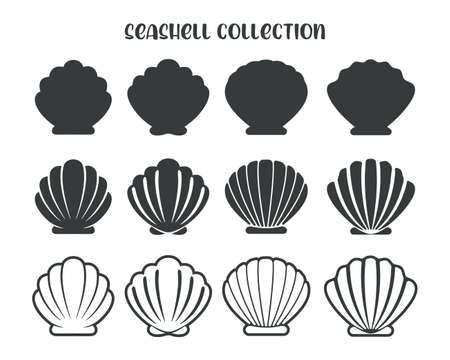 Illustration for Sea Shell Vector Silhouette Isolated on white background. - Royalty Free Image