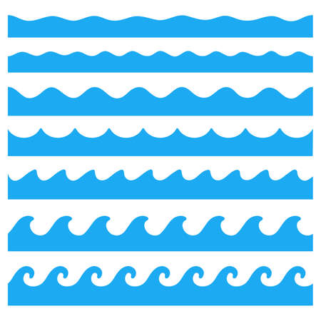 Illustration pour Water wave vector. Waves swaying in lakes and oceans Isolated on white background - image libre de droit