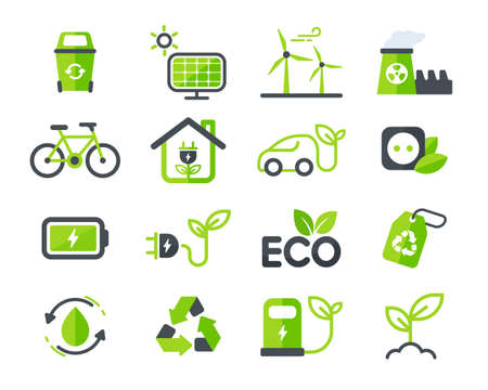 Illustration for Eco icon. Ecology vector design The concept of caring for the environment by using natural energy. - Royalty Free Image