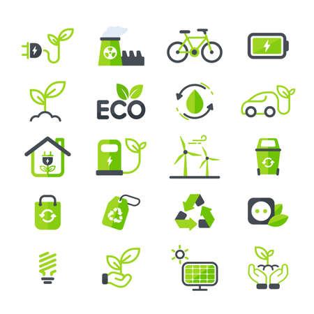 Ilustración de Eco icon. Ecology vector design The concept of caring for the environment by using natural energy. - Imagen libre de derechos