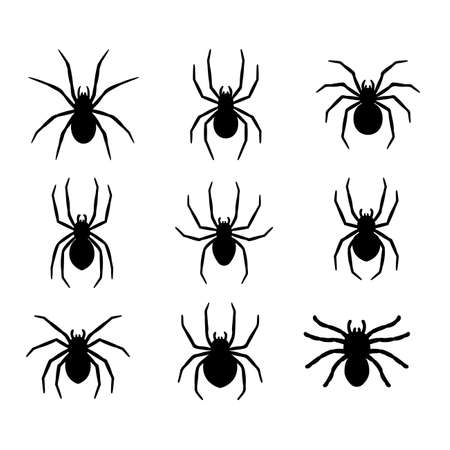 Illustration pour silhouette of a spider hanging from a web Abandoned House Horror Ideas for Halloween - image libre de droit