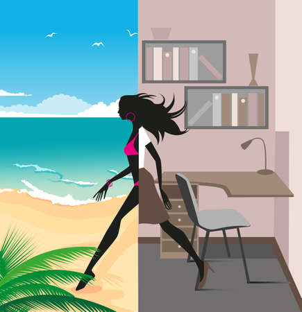 illustration of a graceful girl was leaving the office and traveling to the beach