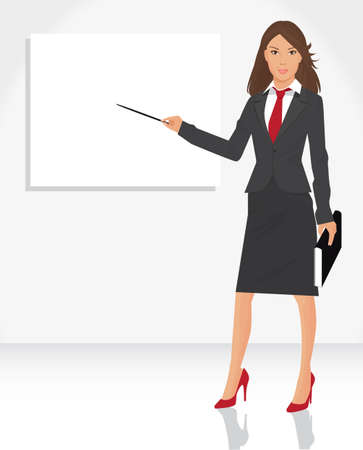 illustration of young business woman with pointer to blank placard, for your information and design