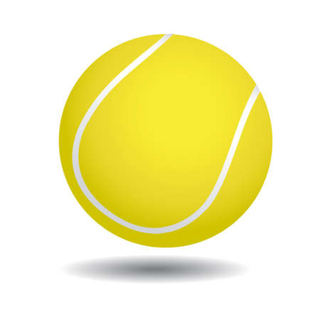 realistic illustration of yellow tennis ball, isolated on white