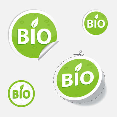 bio green labels and sticker, for your design, eps 10